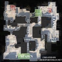 Карта Dust 2 — обозначения.