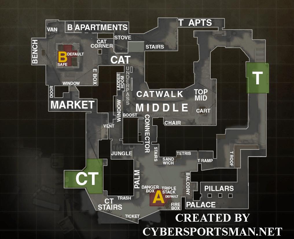 Карта Mirage CS GO - обозначения и хптрости